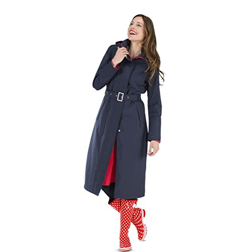 Happy Rainy Days Women's Long Jacket, Navy Blue, X Large