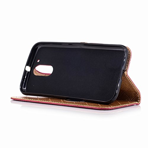 Yiizy Motorola Moto G4 Plus Custodia Cover, Amare Design Sottile Flip Portafoglio PU Pelle Cuoio Copertura Shell Case Slot Schede Cavalletto Stile Libro Bumper Protettivo Borsa (Rosso)