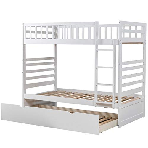 ZHIC Bed, Couch, Bunk Bed Twin Over Twin with Trundle Bed and End Ladder in Oak I Have a Better Life. (Color : White)