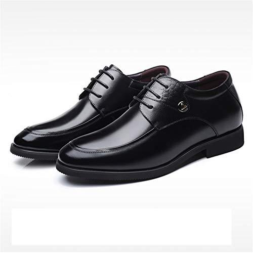 Tamaño Negro Cuero 39 De color Talones Para Fuxitoggo Eu Zapatos Genuino Deporte Hombres Marrón Pulidos Ocultos Zx77wT