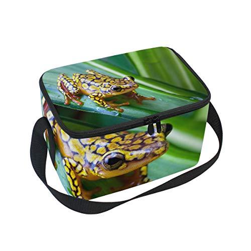 (Lunch Bag Harlequin Poison Dart Frog Cooler for Picnic Shoulder Strap Lunchbox )