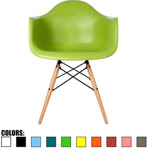 2xhome - Single (1) - Green - Eames Style Armchair - Natu...