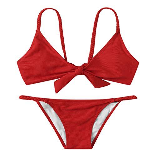 BBesty Women's Push-Up Padded Bra Beach Bikini Set Swimsuit Swimwear for Summer Beach Red