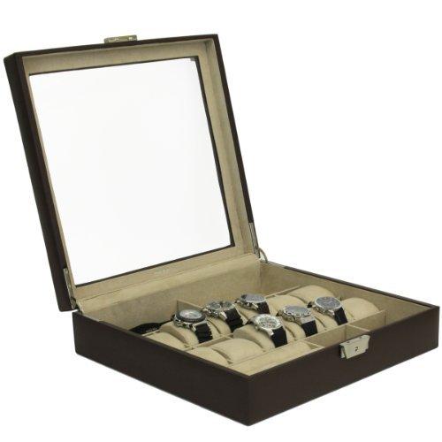 Tech Swiss TS5849RVBRN Watch Box Sunglass Valet Leather Case (New Watch Box Storage Chest)