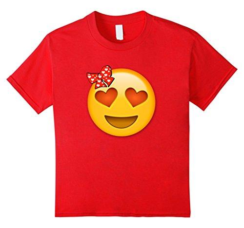 Kids Emoji Shirt Heart Eyes Heart Bow Valentines Day Shirt Kids 10 Red