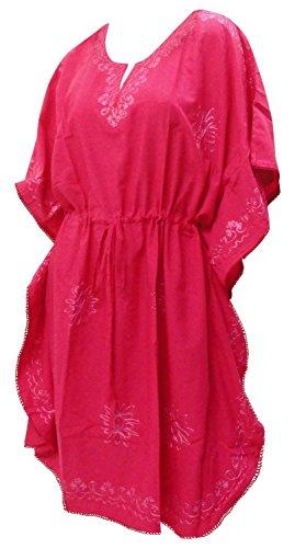 La Leela dames rayonne main lisse brodé tunique robe soirée décontractée vinaigrette ajustement robe maillots bain taille plus détendu couvrir jusqu'à loungewear beachwear short maternité kaftan rose