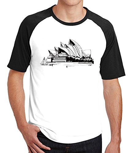 Circus Supplies Melbourne (Crossing Mens Line Drawings Australian Sydney Opera House Raglan Tshirts XXL black)