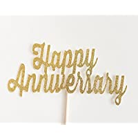 Gold Glitter 'Happy Anniversary' Script Cake Topper, Wedding, Handwritten, Hand Writing, Celebration