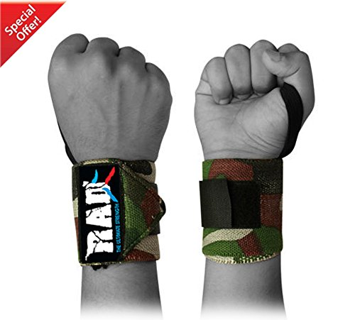 "RAD Weight Lifting Training Wraps Wrist Support Gym Fitness 12"" Bandage Strap Camouflage Green"