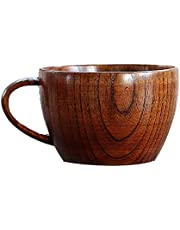 Jujube Wood Tea Cup Wooden Coffee Cup Water Mug Drinking Cup Wooden Cup Set for Izakaya, Restaurant, Cafe Serving, Home Entertain (201-300 ml)