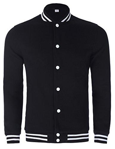 Slim Fit Contrast Sleeves Cotton Varsity Baseball Jacket (45-1, L)