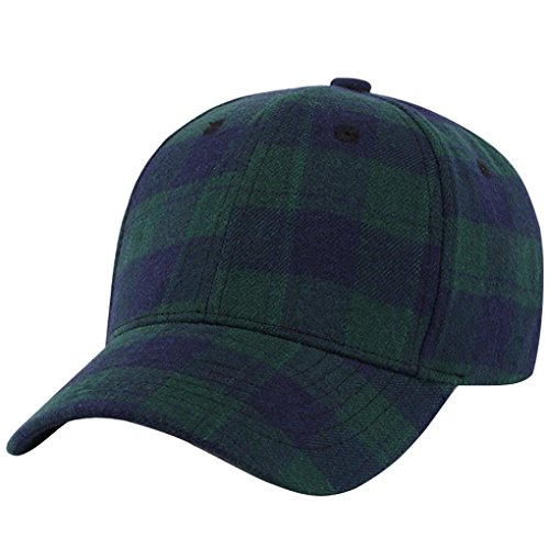 Plaid Cap Ball (Vcenty Baseball Cap for Men and Women Classic Plaid Dad Hat Adjustable Plain Cap (Green))