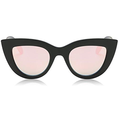 SOJOS Retro Vintage Cateye Sunglasses for Women Plastic Frame Mirrored Lens SJ2939 with Matt Black Frame/Pink Mirrored Lens (In Cat Eye Sun Glasses)
