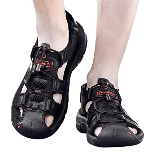 Leather Sideboard - iLXHD Sale Outdoor Sandals Mens Leather Flats Casual Beach Athletic Shoes Breathable Sport Sandals Shower Sandal Black