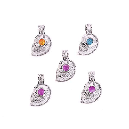 - 10pcs DIY Pearl Cage Bright Silver Beads Cage Locket Pendant Jewelry Making Supplies-for Oyster Pearls, Essential Oil Diffuser, Fun Gifts (Conch)