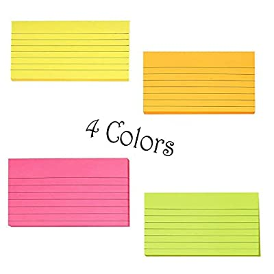 Creatiburg Sticky Notes with Lines 3 inch X 5 inch 4 Assorted Bright Color Sticky Ruled Index Card Lined Self-Stick Notes, 100 Sheet/Pad 4 Pads/Pack, Easy Post Notes Individually Wrapped