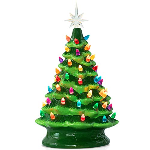Ceramic Christmas Tree with Multicolored Lights 15 Inch Tabletop Halloween Holiday Decoration Lighted Vintage Ceramic Tree with Star Topper Tree Green (Vintage Tree Christmas Ceramic Star)