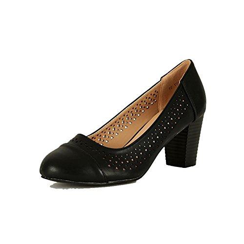 Damas Puntera Redonda Tribunal Zapatos Con Recorte Diseño y tacón en Bloque Grueso Negro