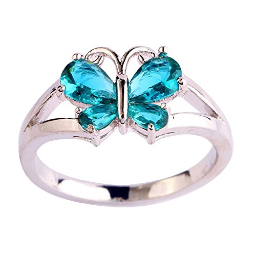 (Veunora 925 Sterling Silver Created Pear Cut Green Topaz Filled Gorgeous Butterfly Ring for Women)