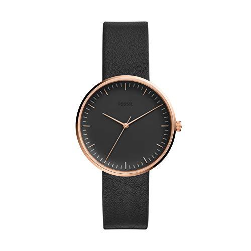 (Fossil Women's Essentialist Black Leather Watch ES4510)