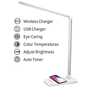 MCHATTE LED Desk Lamp with Wireless Charger, USB Charging Port, Dimmable Eye-Caring Desk Light with 5 Brightness Levels… Lamps and Shades