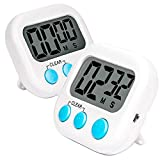 2 Pack Digital Kitchen Timer, Big Digits Loud Alarm Magnetic Backing Stand Large