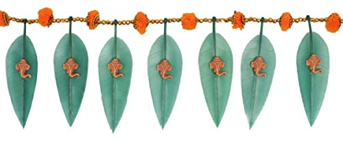 DEVIKA: Asopalav Mango Leaf with Ganesha N Marigold,Novel Gift IDEA Decorate Your Door Gift a Toran Decor Toran Door Valance Home Decorations Gift Packing T6]()