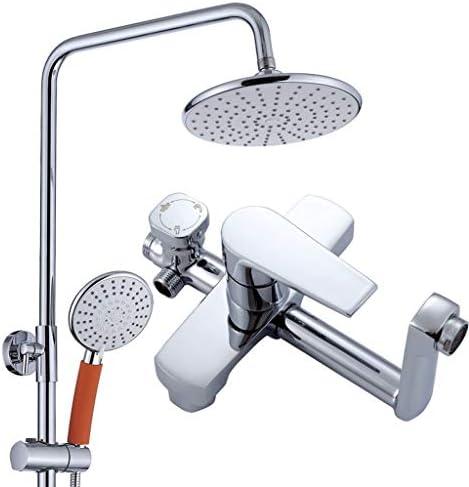 蛇口セットのミキサーのタップ付きハンドスプレーウォールシャワー降雨バスルームにはバスタブシャワーセットをマウント 浴室の蛇口シャワーセット (Color : Silver)