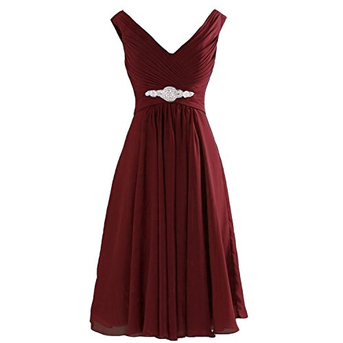 Lemai Plus Size V Neck Short Chiffon A Line Beaded Corset Prom Bridesmaid Dresses Burgundy US 16W