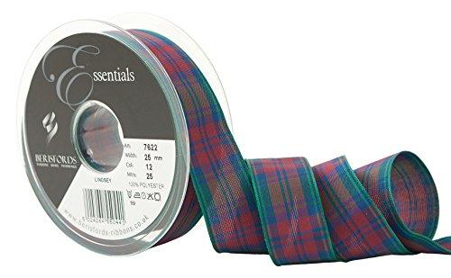 Berisfords Essentials R762225/12 | Lindsay Woven Tartan Ribbon | 25m x 25mm Lindsay Tartan Ribbon