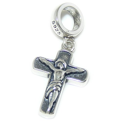 Pro Jewelry 925 Solid Sterling Silver Dangling Two-sided Jesus on a Cross/Red CZ Cross Charm Bead 315