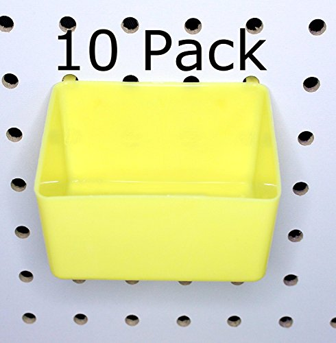 PEG Board Yellow Plastic Part Bins 10 Pack Hooks to Peg Tool Board - Craft Room Workbench ()