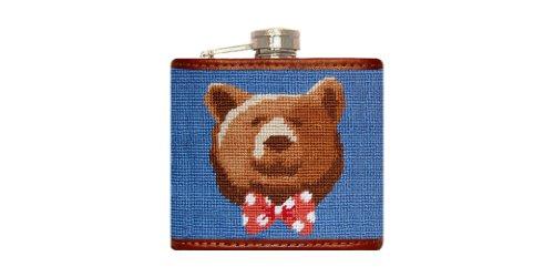 Smathers & Branson Dapper Bear Needlepoint Flask - Stream Blue (Flask-62)