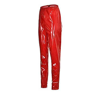 Orangeskycn Women Leggings Zipper Faux Leather Club Party Skinny Shiny Pants