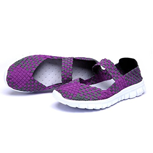 Trainer Women Weight Light On Sandals Elastic Purple Loafer Comfort Woven Minetom Water Slip Flats Breathable Shoes Sport Summer Casual gYqdw8x