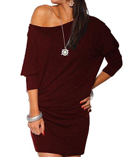 Coolred-femmes Oblique Surdimensionné Mini-paquet Bouffante Hanche Robe Rouge Vin