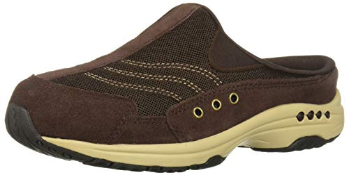 Easy Spirit Women's Traveltime Clog, Dark Brown Suede, 7.5 N US