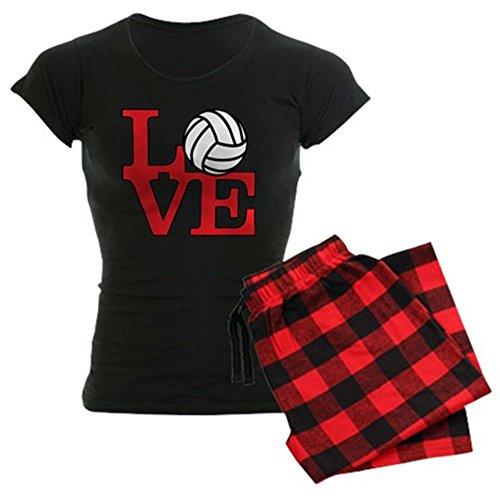 CafePress Volleyball Love Red Womens Novelty Cotton Pajama Set, Comfortable PJ Sleepwear -