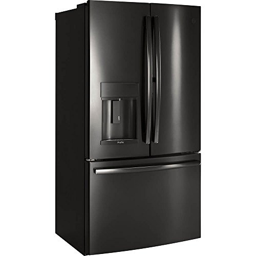 GE Profile PYE22KBLTS Inch Counter French Door Refrigerator cu. ft. in Black Stainless