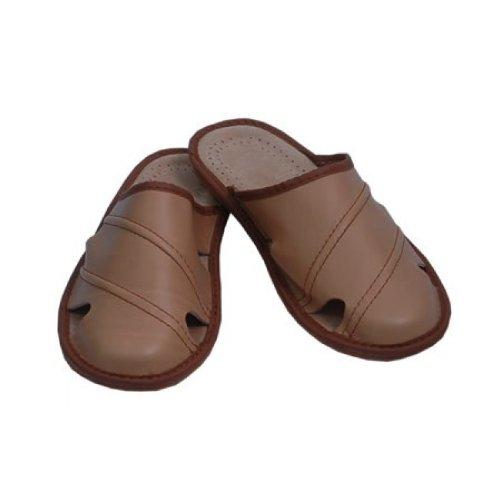 Herren Hausschuhe Leder Pantoffeln Pantoletten Latschen M19 Beige