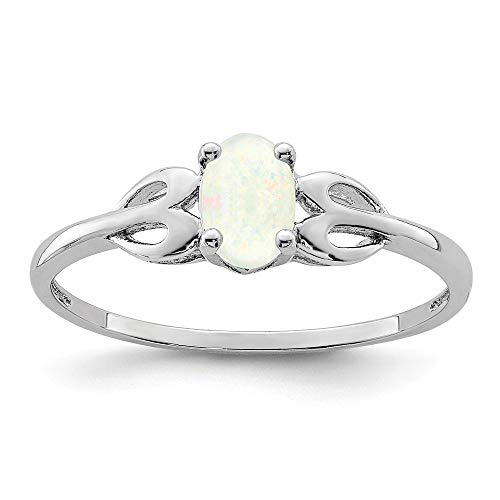 925 Sterling Silver Created Opal Band Ring Size 6.00 Set Birthstone October Gemstone Fine Jewelry Gifts For Women For Her