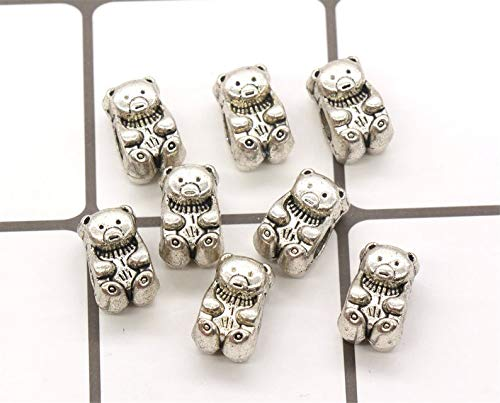 (pakuda 4 Teddy Bear Beads Large Hole Beads Antique Silver Tone - B90)