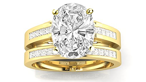 2.45 Carat t.w. 14K Yellow Gold Channel Set Princess Cut Diamond Engagement Ring with a 2 Ct Forever Classic Oval Moissanite Center