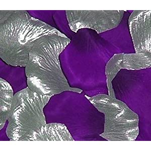 IGC 200 Silk Rose Petals Wedding Favors-Multi Colors – Silver & Purple – Wedding Reception and Party Supplies
