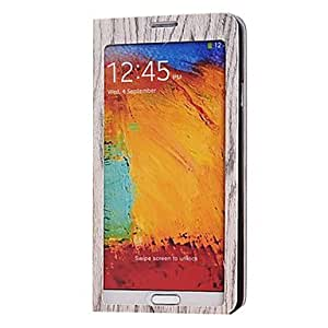 LZX Full Screen Window Wood Pattern Case with Stand for Samsung Galaxy Note 3 N9000