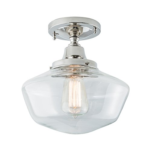 Norwell Lighting 5361F Schoolhouse (Polished Nickel w/Clear Glass)