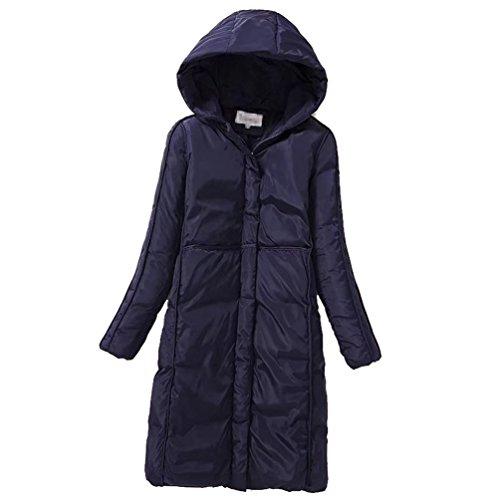 Navy blue Women Jacket Ladies Parka Winter Hooded Coats Long Warm Zipper Pockets Anguang P7qSd7A
