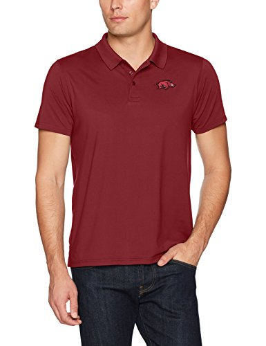 OTS NCAA Arkansas Razorbacks Men's Sueded Short Sleeve Polo Shirt, Logo, Small (Razorback Bowl Shirt)