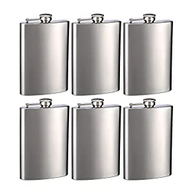 Top Shelf Flasks Stainless Steel Hip Flasks, 8 oz,...