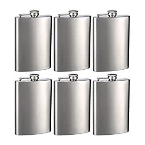 Engraved Set of Six 8oz Stainless Steel Groomsman Flasks - Personalized by Top Shelf Flasks